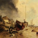 Andreas Achenbach (1815-1910)  A Fishingboat On The Beach  Oil on canvas  22 3/4 x 29 7/8 inches (58 x 76 cm)  Private collection